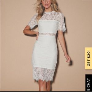 LULUS white lace midi dress 💓